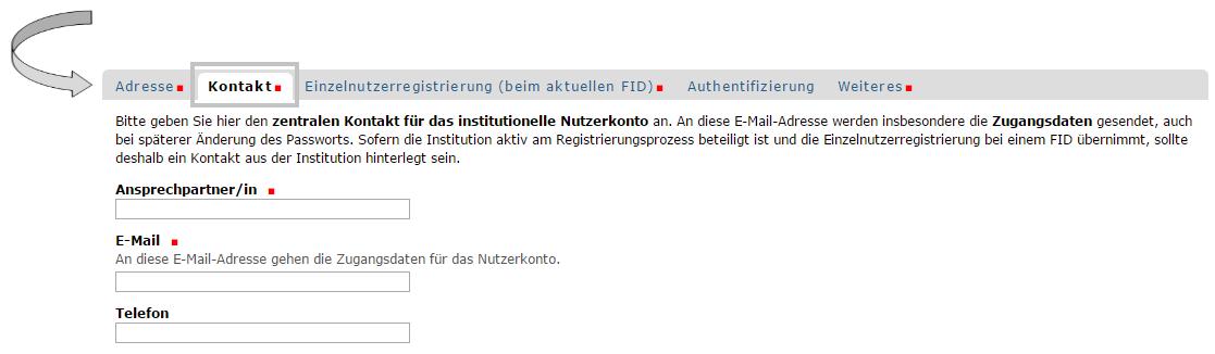 Institution - Registrierungsformular - Kontakt